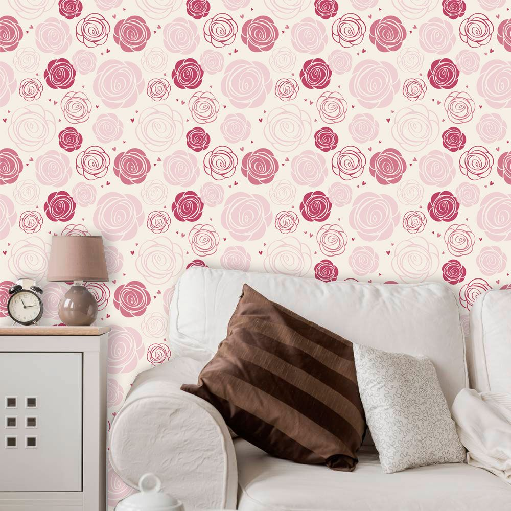 Papel de Parede Adesivo Lavável Floral Rosas Redondas F0048  - Final Decor