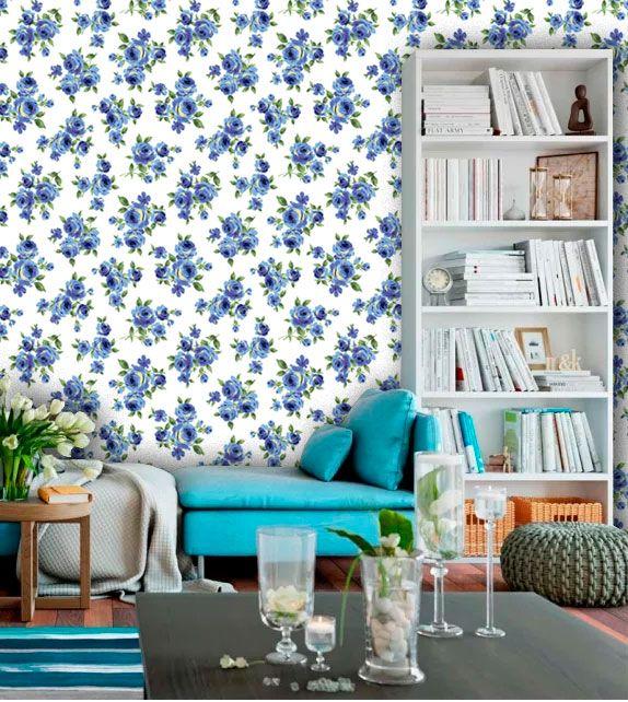 Papel de Parede Adesivo Lavável f0051 Floral Azul Marinho Delicado  - Final Decor