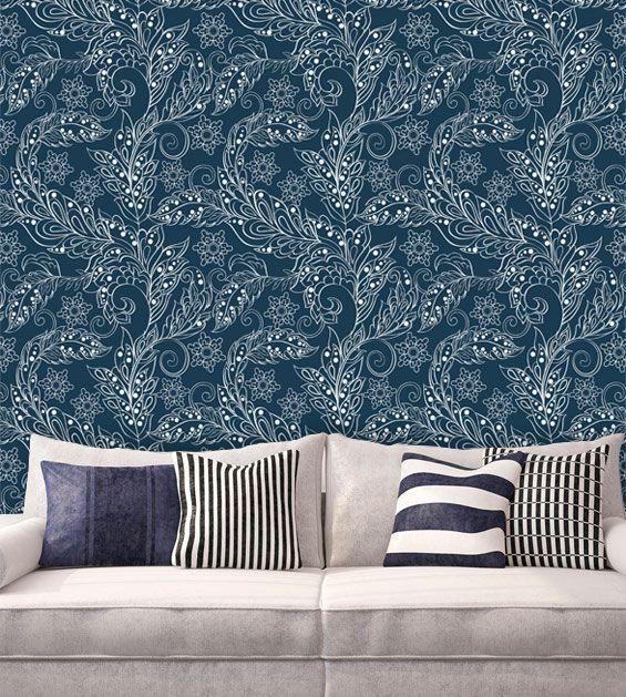 Papel de Parede Adesivo Lavável f0065 Floral Azul Marinho  - Final Decor