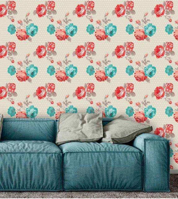 Papel de Parede Adesivo Lavável f0082 Floral Clássico Rosa e Azul  - Final Decor