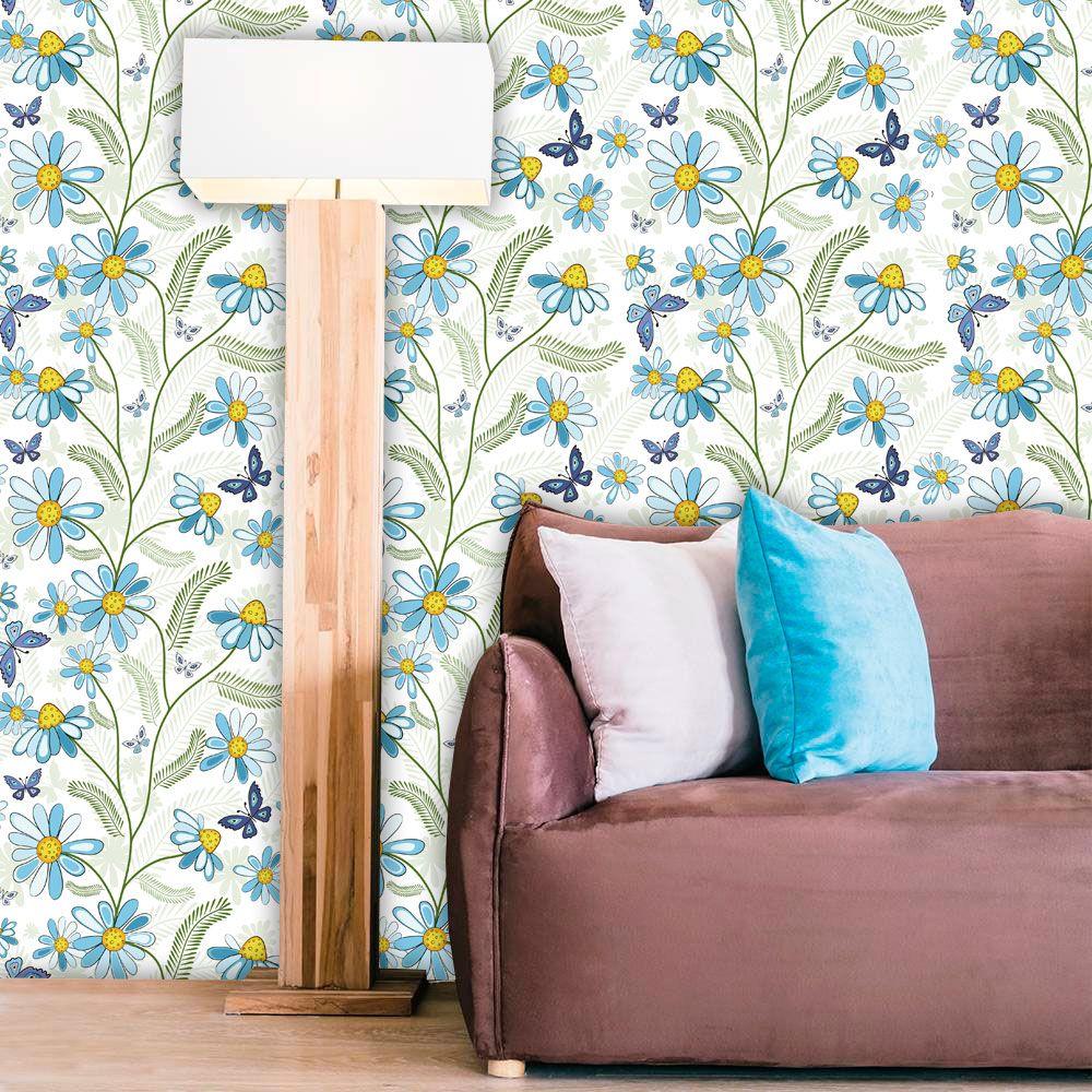 Papel de Parede Adesivo Lavável Floral Margarida Azul F0092  - Final Decor