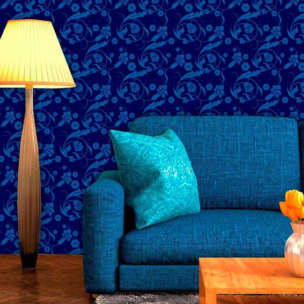 Papel de Parede Adesivo Lavável f0095 Floral Azul Delicado  - Final Decor