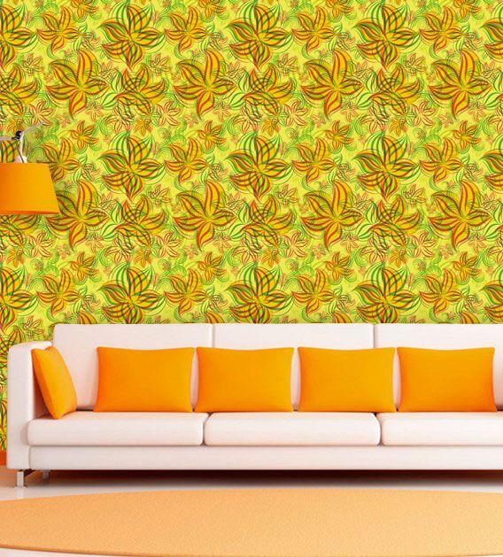 Papel de Parede Adesivo Lavável f0097 Floral Rabisco  - Final Decor