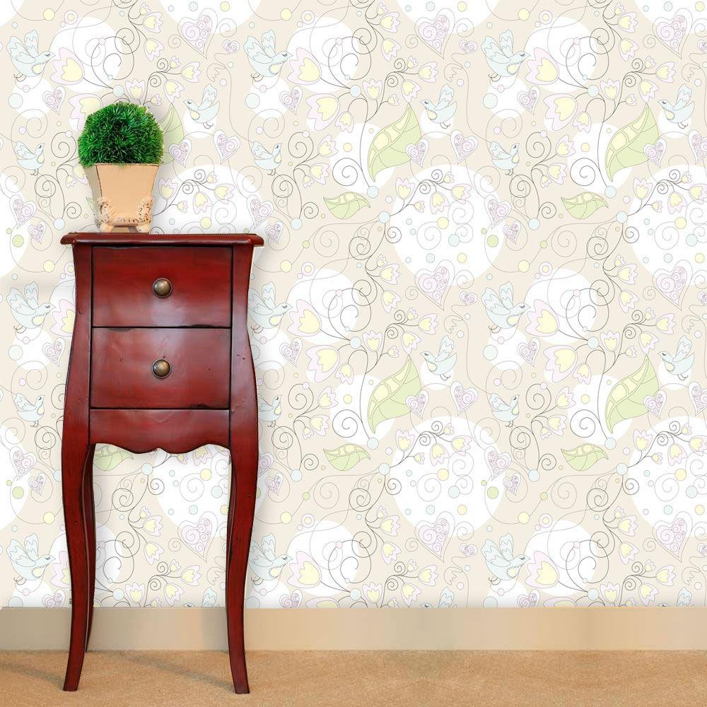 Papel de Parede Adesivo Lavável f0098 Floral Neutro  - Final Decor
