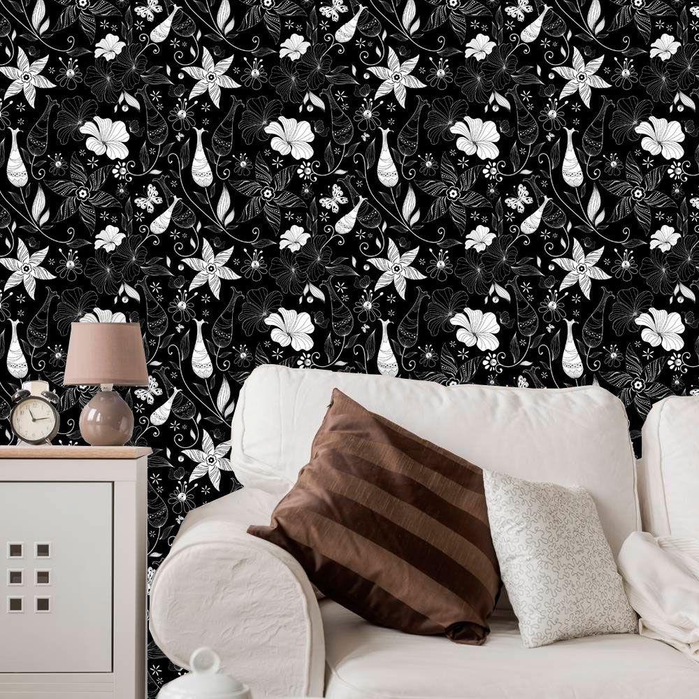Papel de Parede Adesivo Lavável f0111 Floral Moderno Preto e Branco  - Final Decor