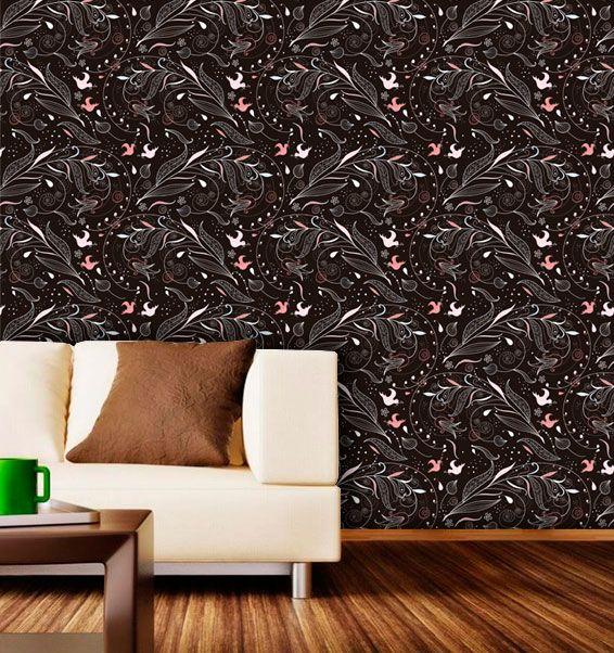 Papel de Parede Adesivo Lavável Floral Hippie Escuro F0114  - Final Decor