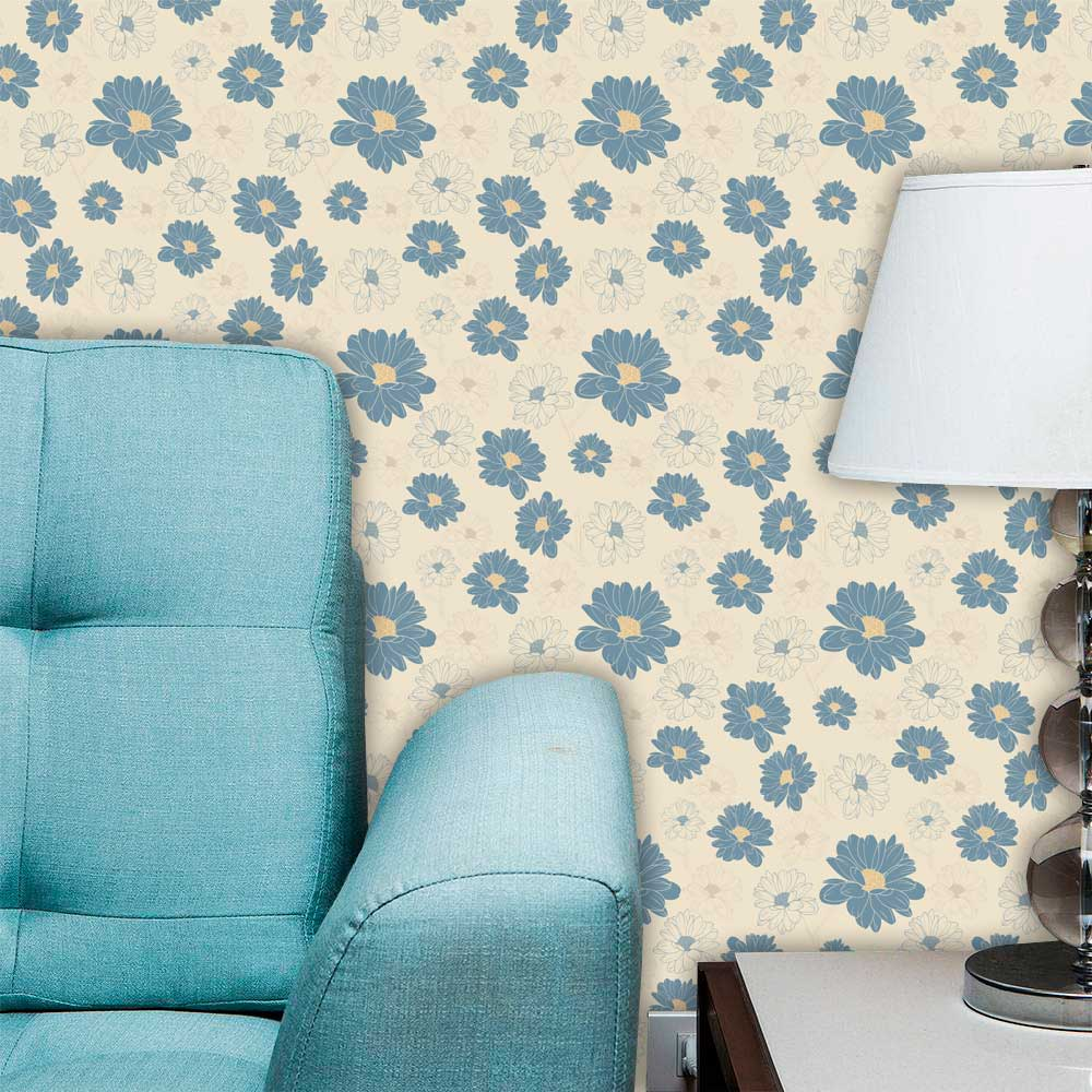 Papel de Parede Adesivo Lavável Floral Azul Vazado F0120   - Final Decor