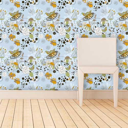 Papel de Parede Adesivo Lavável f0123  Floral Colorido Moderno Azul  - Final Decor
