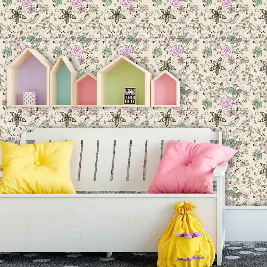 Papel de parede adesivo lav vel f0128 floral desenho - Papel de pared moderno ...