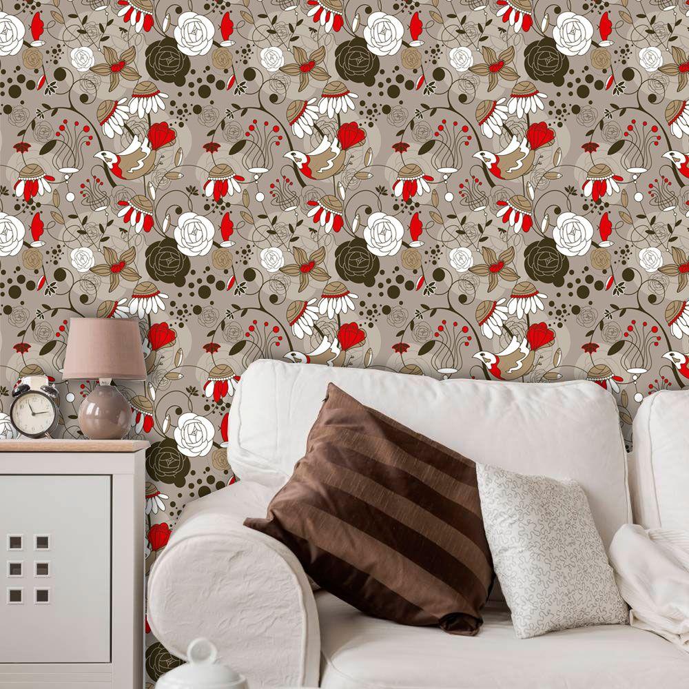 Papel de Parede Adesivo Lavável Floral Vermelho F0143  - Final Decor