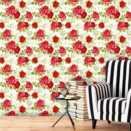 Papel de Parede Adesivo Lavável Floral Vermelho Vibrante F0151  - Final Decor