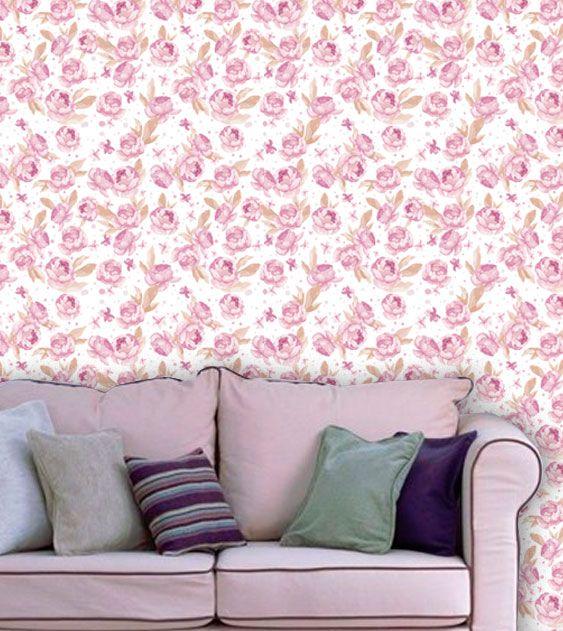Papel de Parede Adesivo Lavável Floral Violeta Claro F0154  - Final Decor