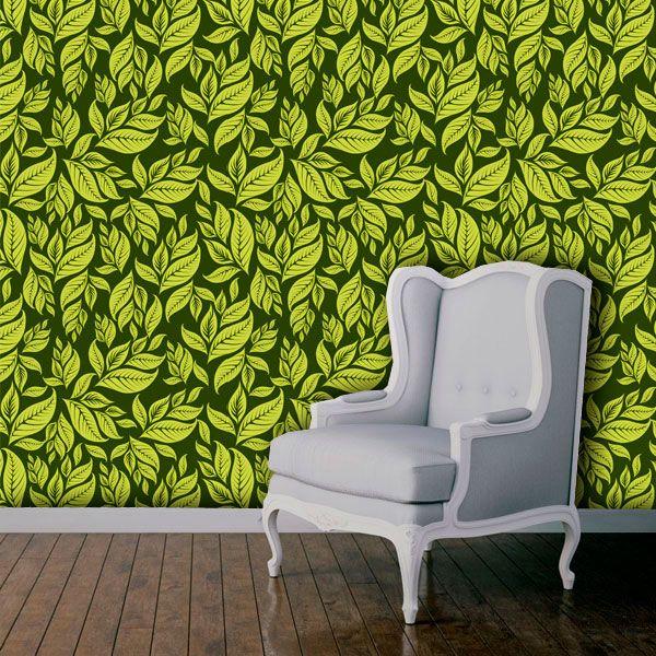 Papel de Parede Adesivo Lavável Floral Folhagem Verde F0155  - Final Decor