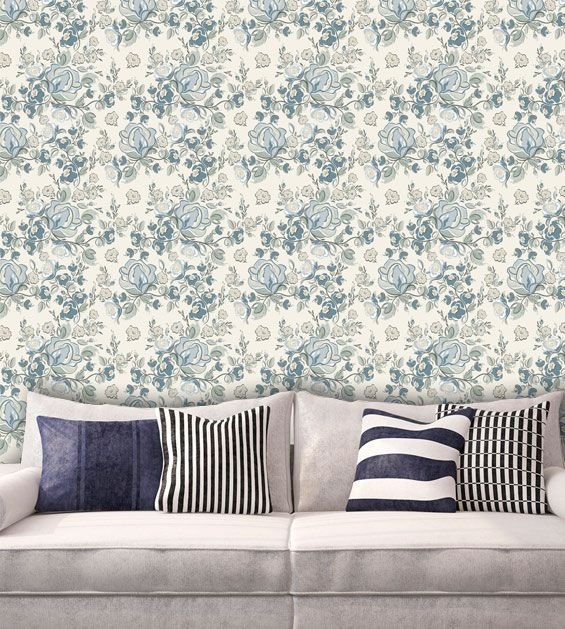 Papel de Parede Adesivo Lavável Floral Retrô Azul F0158  - Final Decor