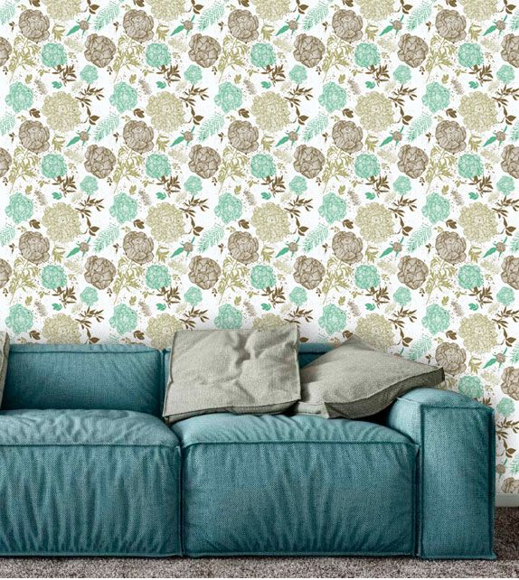 Papel de Parede Adesivo Lavável Floral Retrô Clean F0165  - Final Decor