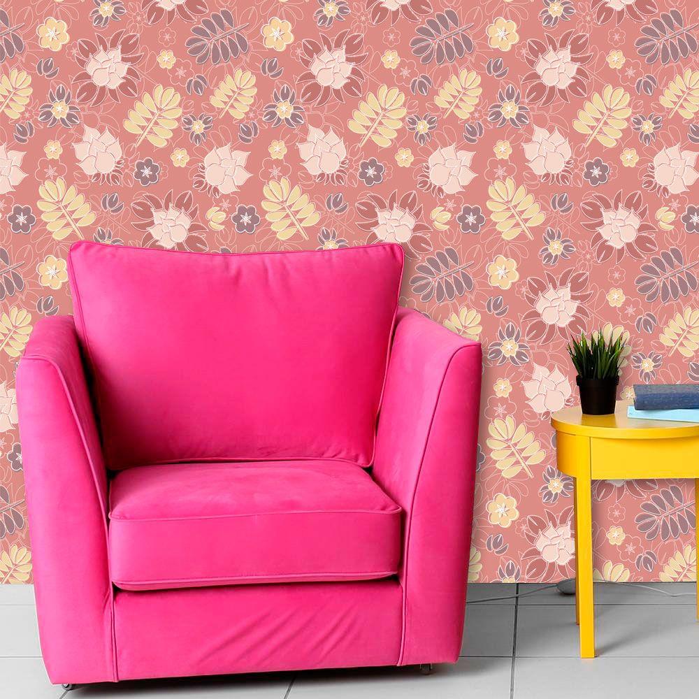 Papel de Parede Adesivo Lavável f0174 Floral Folhagem Magenta  - Final Decor