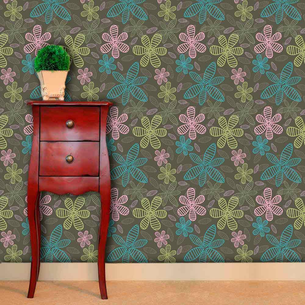 Papel de Parede Adesivo Lavável f0175 Floral Flores Giz  - Final Decor