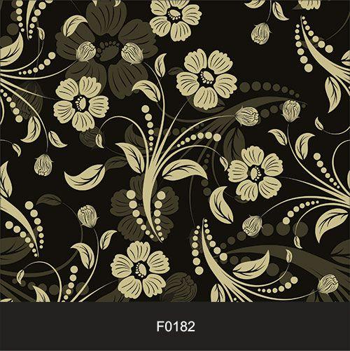 Papel de Parede Adesivo Lavável f0182 Floral Retrô Preta  - Final Decor