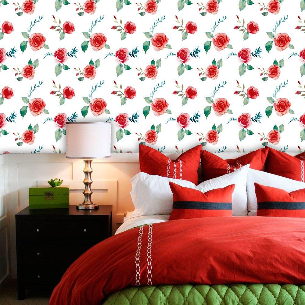 Papel de Parede Adesivo Lavável f0202 Floral Vermelho Intenso  - Final Decor