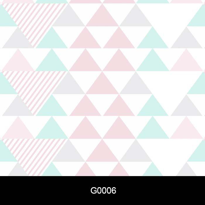 Papel de Parede Auto Adesivo Lavável G0006 Triângulo Rosa cinza Azul  - Final Decor