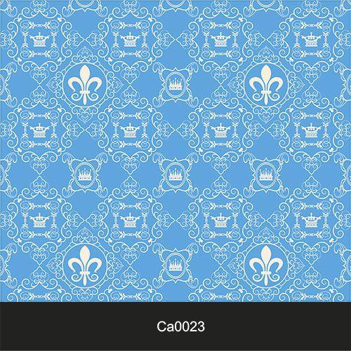 Papel de Parede Lavável Clássico Arabesco Coroa Azul CA0023  - Final Decor