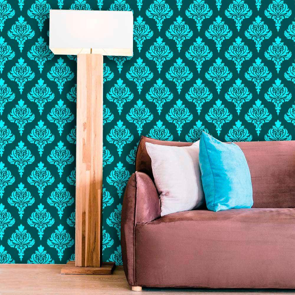 Papel de Parede Lavável Clássico Arabesco ca0049 Verde Tiffany  - Final Decor