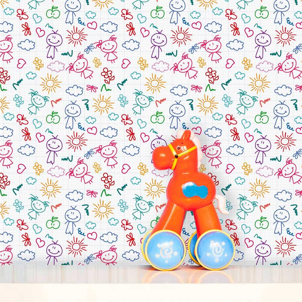 Papel de Parede Infantil Auto Adesivo Lavável 0007 Desenho Canetinha  - Final Decor