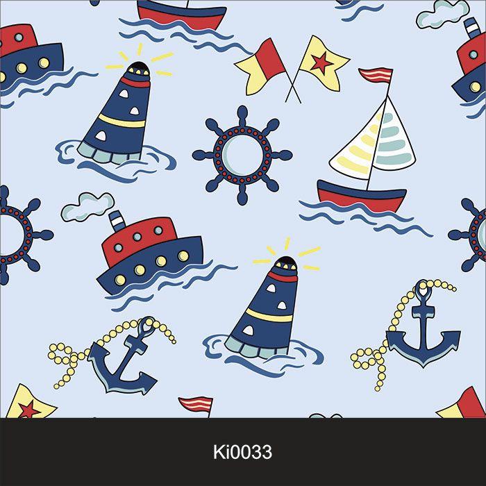 Papel de Parede Infantil Auto Adesivo Lavável  Barco Marinheiro Ki0033  - Final Decor
