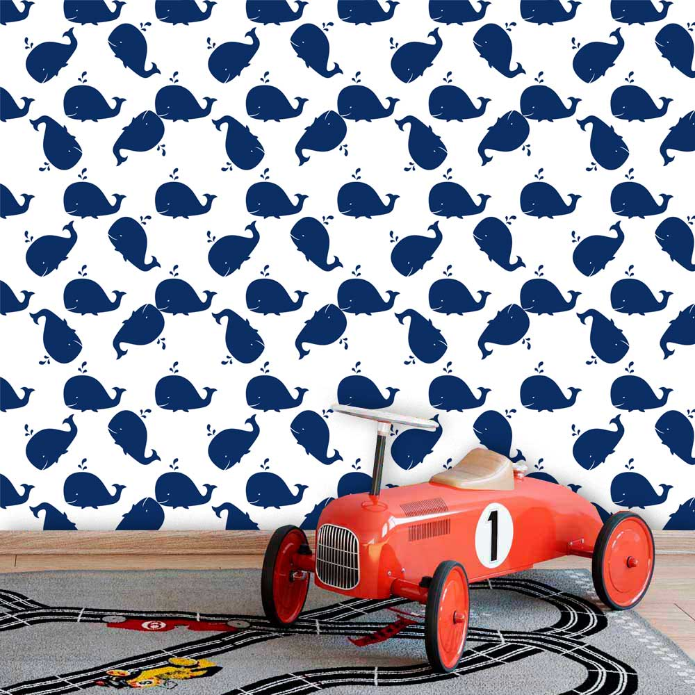 Papel de Parede Infantil Auto Adesivo Lavável 0039 Baleias  - Final Decor