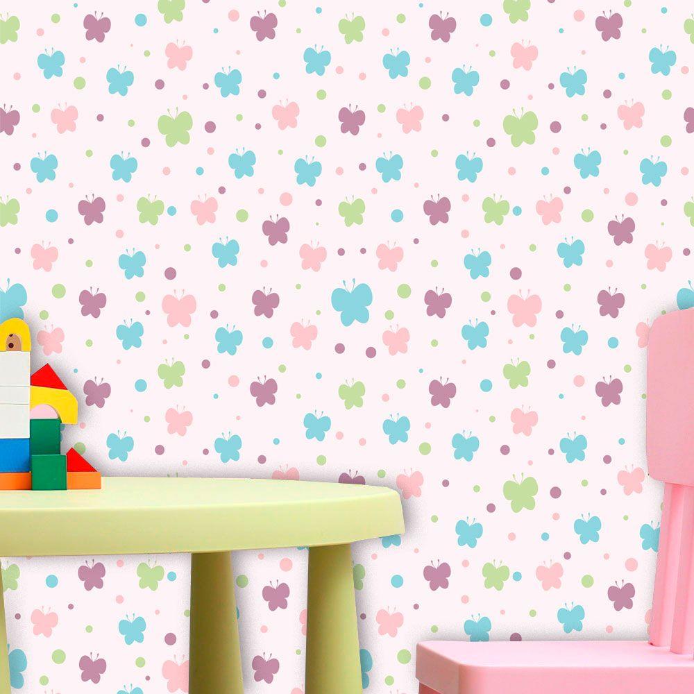 Papel de Parede Infantil Auto Adesivo Lavável 0046 Borboleta Coloridas  - Final Decor
