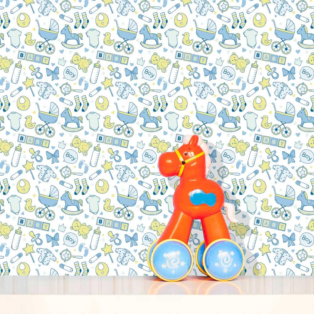 Papel de Parede Infantil Auto Adesivo Lavável Baby Baby Ki0057  - Final Decor