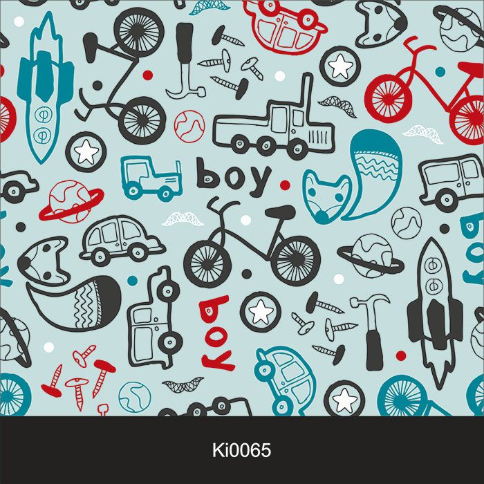 Papel de Parede Infantil Auto Adesivo Lavável 0065 Boy Car Bike  - Final Decor