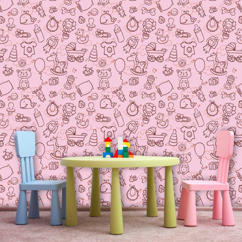 Papel de Parede Infantil Auto Adesivo Lavável 0066 Girl Pink  - Final Decor