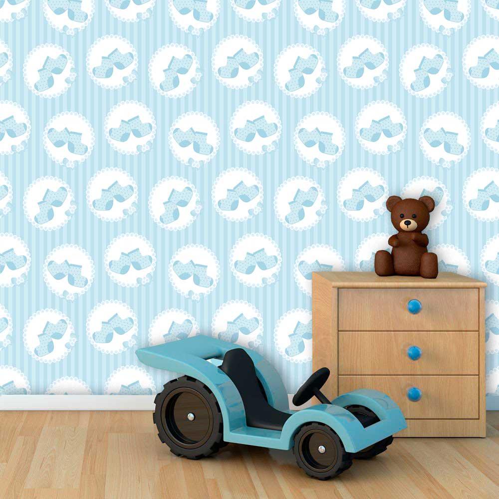 Papel de Parede Infantil Auto Adesivo Lavável 0081 Sapatinho de Menino  - Final Decor