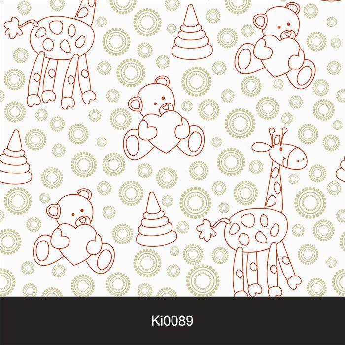 Papel de Parede Infantil Auto Adesivo Lavável 0089 Girafa urso  - Final Decor