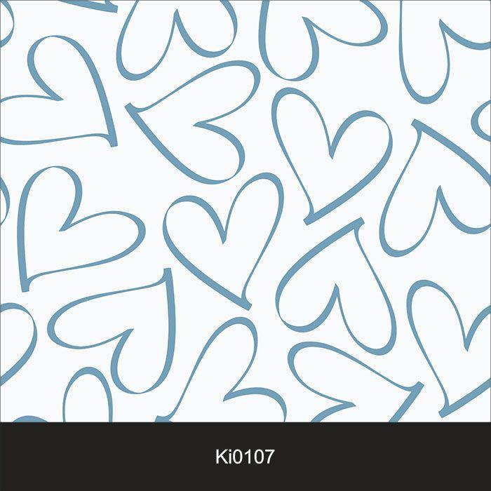Papel de Parede Infantil Auto Adesivo Lavável 0107 Coração Azul  - Final Decor