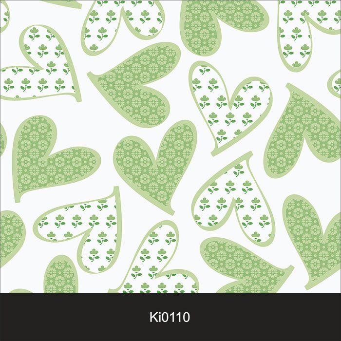 Papel de Parede Infantil Auto Adesivo Lavável 0110 Coração Verde  - Final Decor