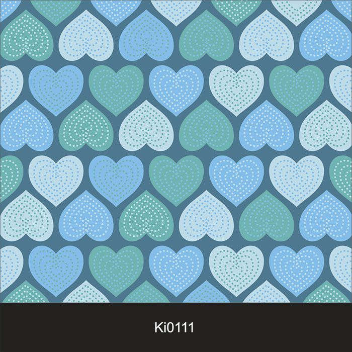 Papel de Parede Infantil Auto Adesivo Lavável Coração Azul Ki0111   - Final Decor