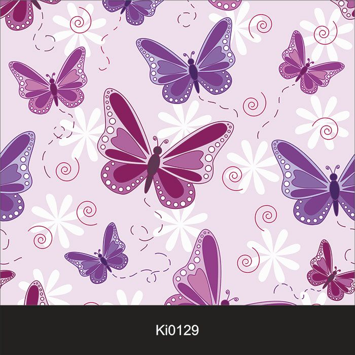 Papel de Parede Infantil Auto Adesivo Lavável 0129 Borboletas Violeta  - Final Decor