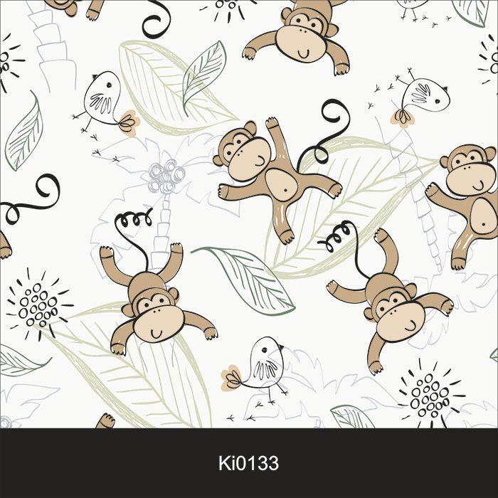 Papel de Parede Infantil Auto Adesivo Lavável 0133 Macacos  - Final Decor