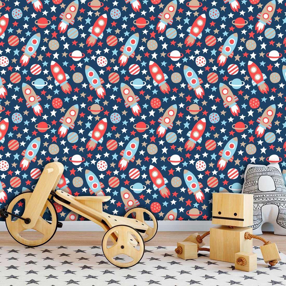 Papel de Parede Infantil Auto Adesivo Lavável Foguete Nave KI0139  - Final Decor