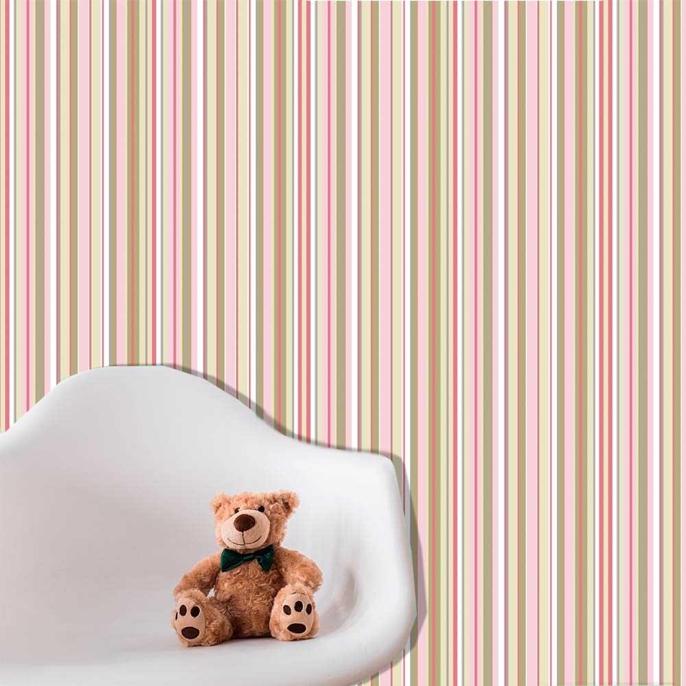 Papel de Parede Auto Adesivo Lavável  Listrado Rosa Chocolate L0060  - Final Decor