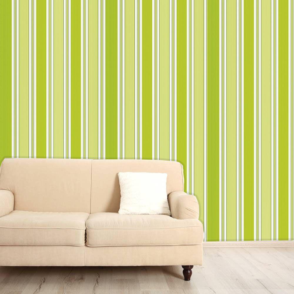 Papel de Parede Auto Adesivo Lavável  Listrado Verde Limão L0102  - Final Decor