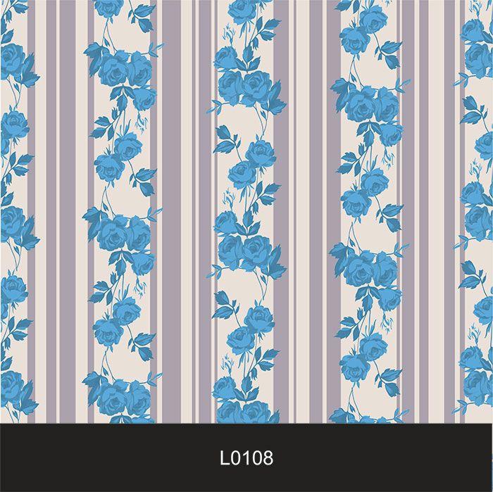 Papel de Parede Auto Adesivo Lavável  Listrado 0108 Floral azul  - Final Decor