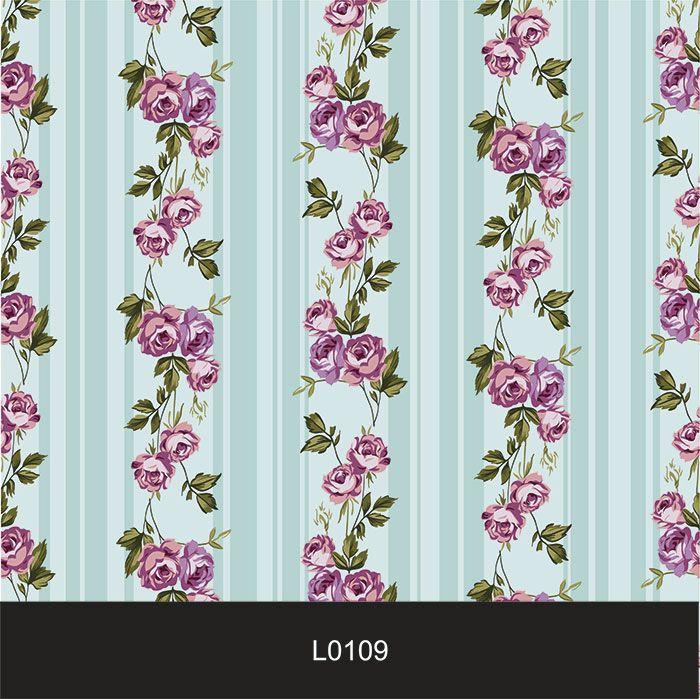 Papel de Parede Auto Adesivo Lavável Listrado 0109 Floral Violeta  - Final Decor