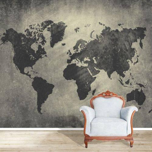 Papel de Parede Mapa Mundi Cimento Queimado Personalizado  - Final Decor
