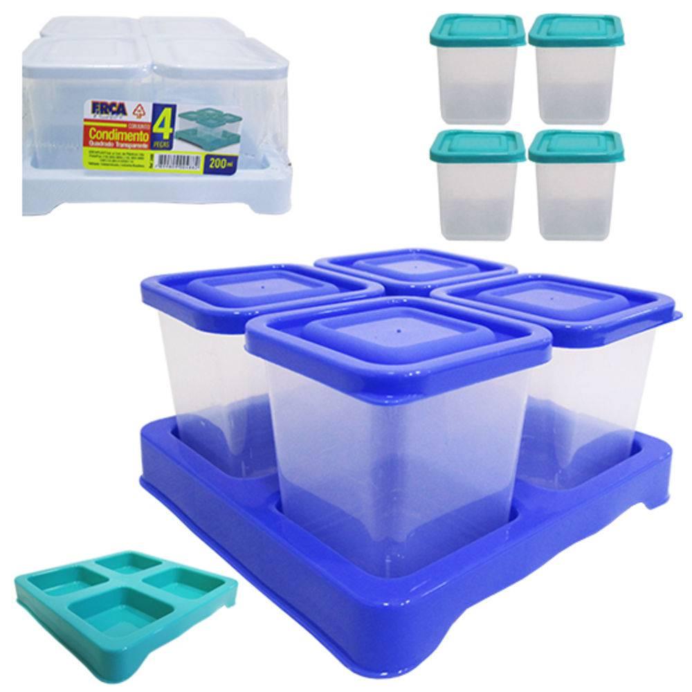 Porta Condimento De Plastico Verde Quadrado Kit Com 4 Pecas  - Final Decor
