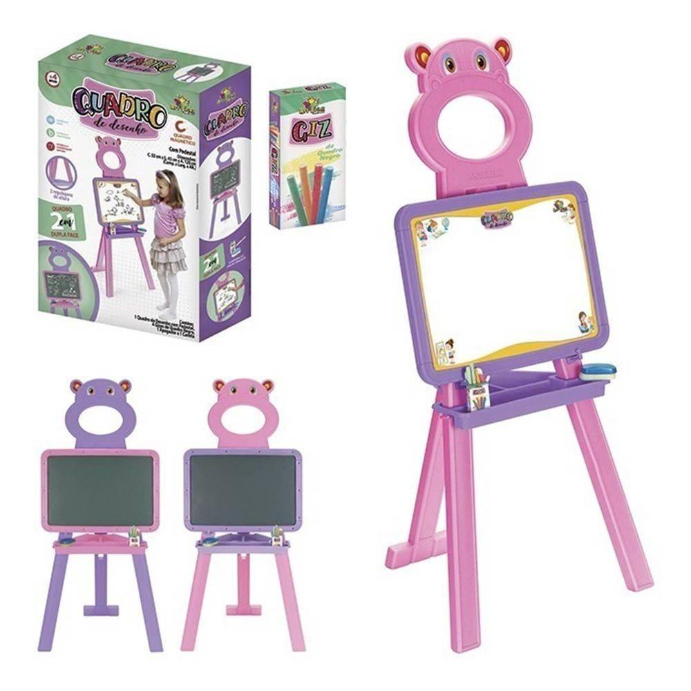 Quadro De Desenho Infantil 2 Em 1 C/ Regulagem - Art Brink Rosa  - Final Decor