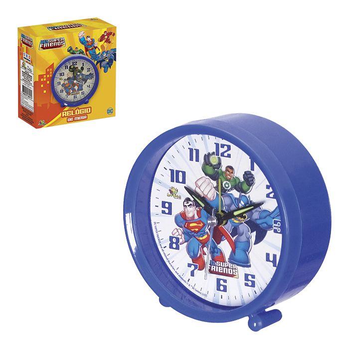 Relógio De Mesa Despertador Infantil - Dc Super Friends Azul  - Final Decor