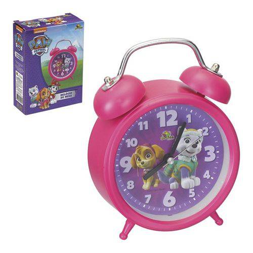 Relógio Infantil De Mesa Despertador Patrulha Canina Paw Patrol Girls Art Brink  - Final Decor